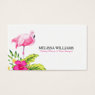 Tropical Flowers & Pink Flamingo Business Card