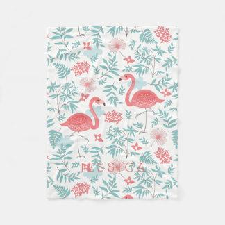 Tropical Flowers & Pink Flamingos Illustration Fleece Blanket