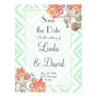 Tropical flowers seashells geometric wedding art postcard