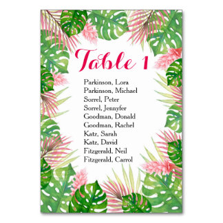 Tropical flowers watercolor wedding table card