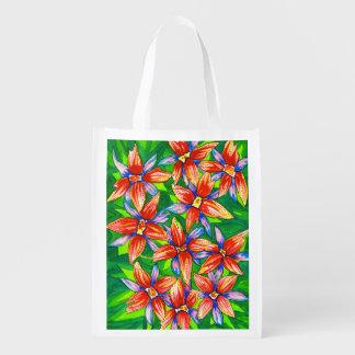 Tropical Flowers Watercolour Eco Reusable Bag