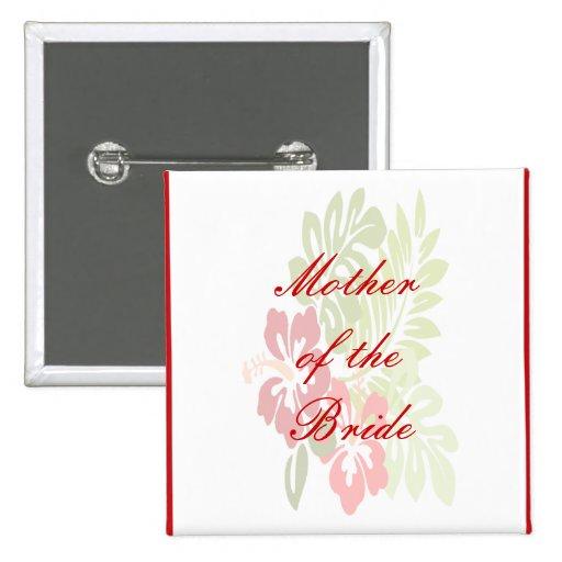 Tropical Flowers Wedding Button