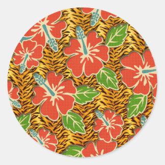 Tropical Flowers Wild Tiger Pattern Classic Round Sticker