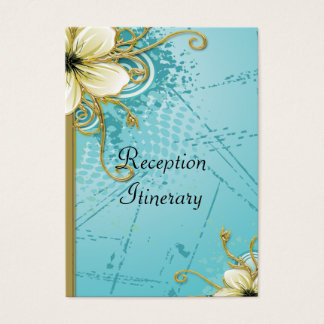 Tropical Flowers With Golden Vines Grunge Wedding Business Card