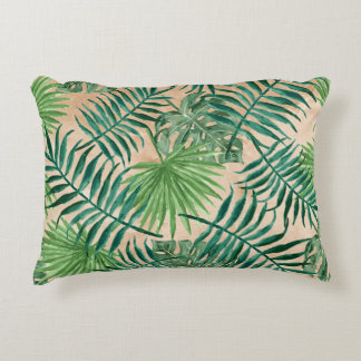 TROPICAL FOLIAGE, Palm Trees Ferns Accent Pillow