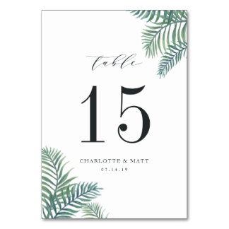 Tropical Foliage | Personalized Table Number Card