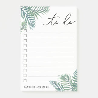 Tropical Foliage Personalized To-Do List Post-it Notes