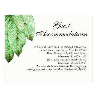 Tropical Foliage Wedding Guest Accommodations Postcard
