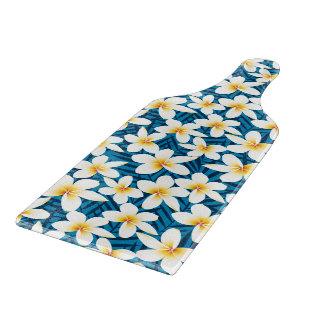 Tropical frangipani flowers cutting board