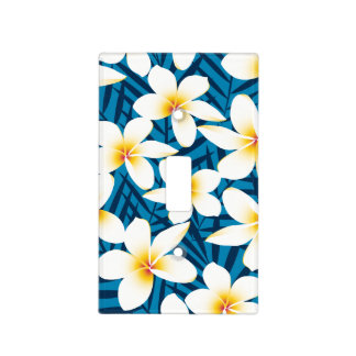 Tropical frangipani flowers light switch cover