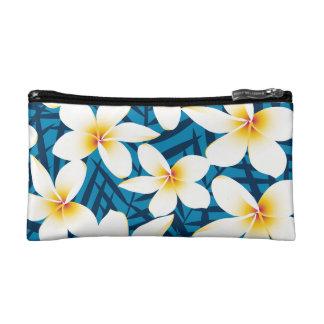 Tropical frangipani flowers makeup bag