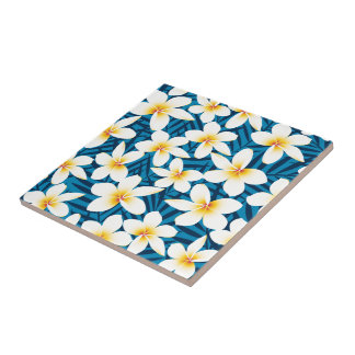 Tropical frangipani flowers tile