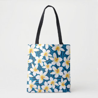 Tropical frangipani flowers tote bag