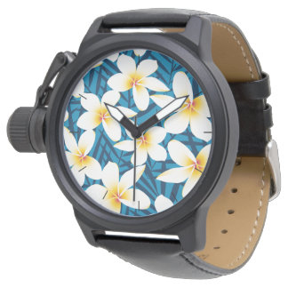 Tropical frangipani flowers wrist watch