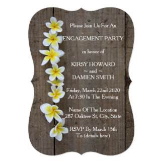 Tropical Frangipani Rustic Engagement Party Invite