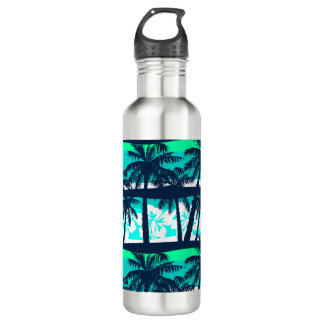 Tropical frangipani with palms 710 ml water bottle