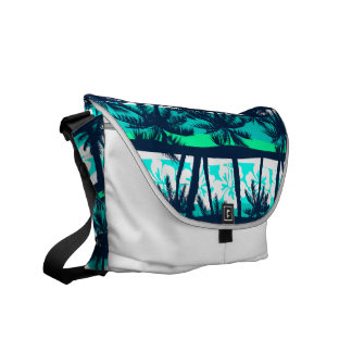 Tropical frangipani with palms commuter bags