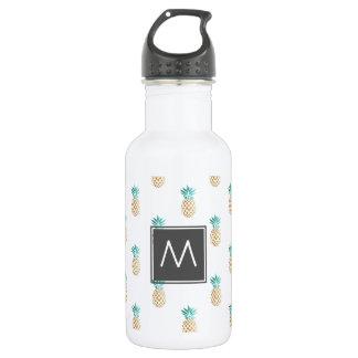 tropical fresh summer faux gold pineapple pattern 532 ml water bottle