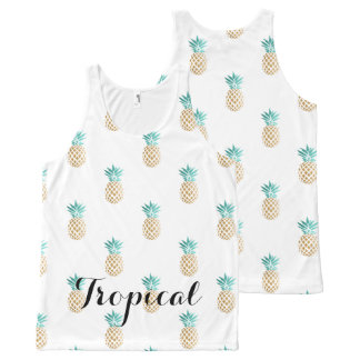 tropical fresh summer faux gold pineapple pattern All-Over-Print tank top