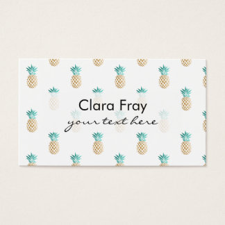tropical fresh summer faux gold pineapple pattern business card