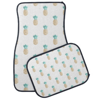 tropical fresh summer faux gold pineapple pattern car mat