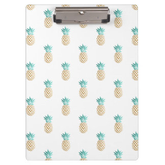 tropical fresh summer faux gold pineapple pattern clipboard