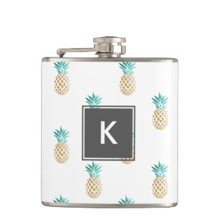tropical fresh summer faux gold pineapple pattern hip flask