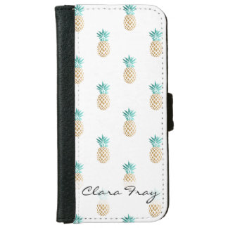 tropical fresh summer faux gold pineapple pattern iPhone 6 wallet case