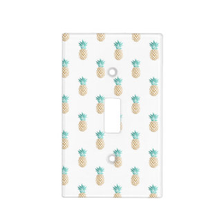 tropical fresh summer faux gold pineapple pattern light switch cover