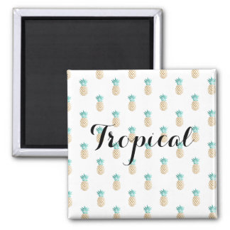 tropical fresh summer faux gold pineapple pattern magnet