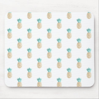 tropical fresh summer faux gold pineapple pattern mouse pad