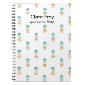 tropical fresh summer faux gold pineapple pattern notebook