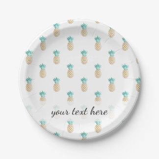 tropical fresh summer faux gold pineapple pattern paper plate