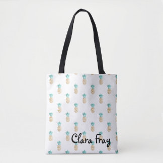 tropical fresh summer faux gold pineapple pattern tote bag