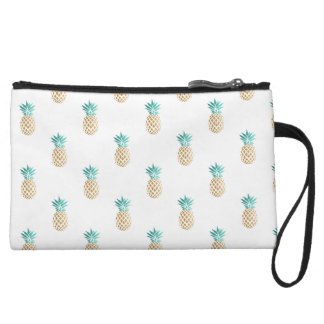 tropical fresh summer faux gold pineapple pattern wristlet