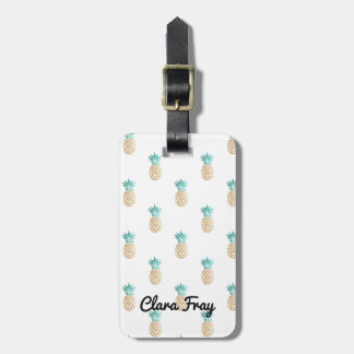 tropical fresh summer gold foil pineapple pattern bag tag
