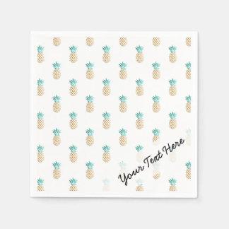 tropical fresh summer gold foil pineapple pattern disposable napkin