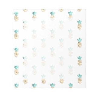 tropical fresh summer gold foil pineapple pattern notepads