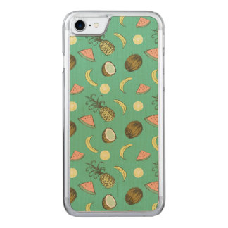 Tropical Fruit Doodle Pattern Carved iPhone 8/7 Case