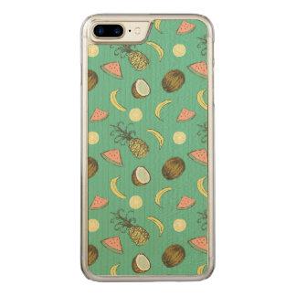 Tropical Fruit Doodle Pattern Carved iPhone 8 Plus/7 Plus Case