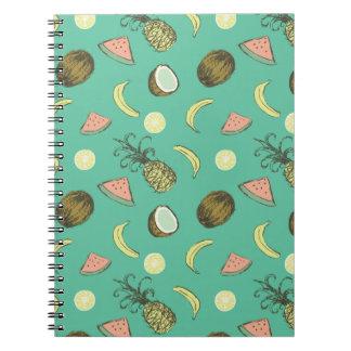 Tropical Fruit Doodle Pattern Notebook