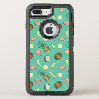Tropical Fruit Doodle Pattern OtterBox Defender iPhone 8 Plus/7 Plus Case