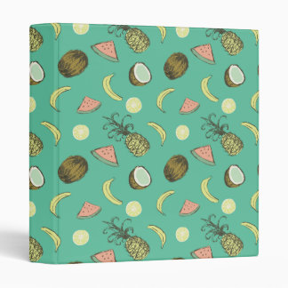 Tropical Fruit Doodle Pattern Vinyl Binders