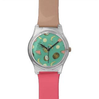 Tropical Fruit Doodle Pattern Watch
