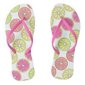 Tropical Fruit Orange Lemon Lime Grapefruit Slices Flip Flops