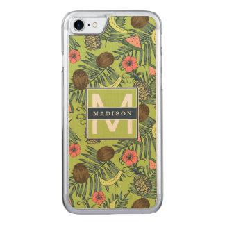 Tropical Fruit Sketch on Green Pattern Carved iPhone 8/7 Case