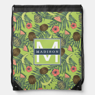 Tropical Fruit Sketch on Green Pattern Drawstring Bag