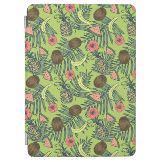 Tropical Fruit Sketch on Green Pattern iPad Air Cover