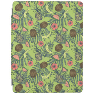 Tropical Fruit Sketch on Green Pattern iPad Cover