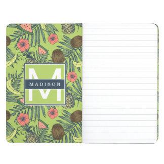 Tropical Fruit Sketch on Green Pattern Journal